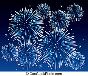 blue fireworks - vector blue fireworks background