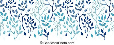 Vector blue forest horizontal border seamless pattern background