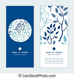 Vector blue forest vertical round frame pattern invitation greeting cards set