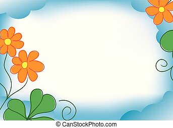 vector blue frame with orange flowers