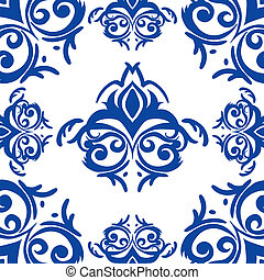 Vector blue frame/border in damask baroque style