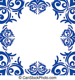 Vector blue frame/border in damask baroque style
