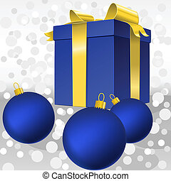 Vector blue gift box with gold ribbon bow and christmas balls