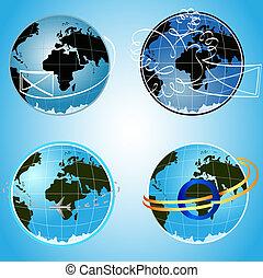 Vector blue globe communication concept symbols.