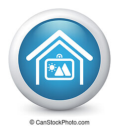 Vector blue glossy icon.