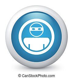 Vector illustration of blue glossy icon.