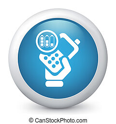Vector blue glossy icon. - Vector illustration of blue ...