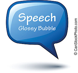 vector blue glossy speech bubble