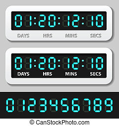 vector blue glowing digital numbers - countdown timer