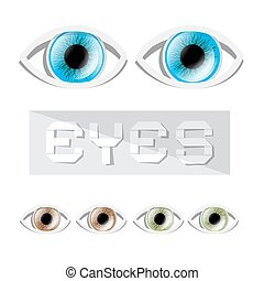 Vector Blue - Green and Brown Eyes Set