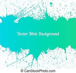 Vector blue green ink splashes over white