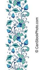 Vector blue green swirly flowers vertical border seamless ...