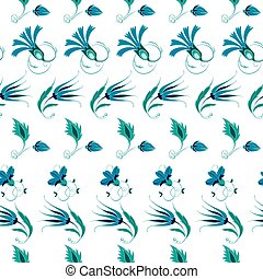 Vector Blue Green Turkish Folk Floral Stripes Seamless Pattern