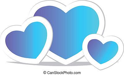 Vector blue heart. Icon.