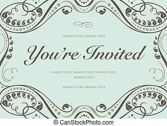 Vector Blue Invitation Background - Vector swirl floral ...