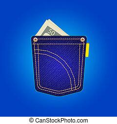 jeans pocket - vector blue jeans pocket on a blue background