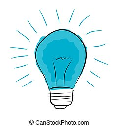 Vector blue light bulb hand drawn