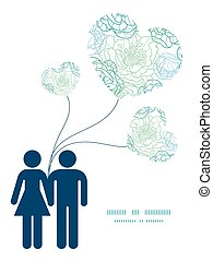 Vector blue line art flowers couple in love silhouettes frame pattern invitation greeting card template