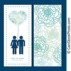 Vector blue line art flowers couple in love silhouettes frame pattern invitation greeting card template graphic design