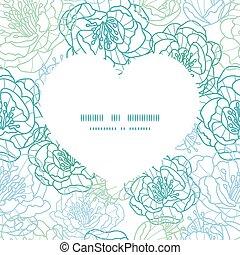 Vector blue line art flowers heart silhouette pattern frame