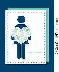 Vector blue line art flowers woman in love silhouette frame pattern invitation greeting card template