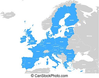 Vector Blue Map of the European Union
