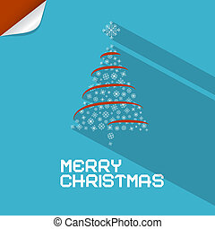 Vector Blue Merry Christmas Background With Paper Tree