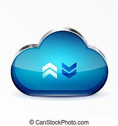 Vector blue modern 3d glass cloud icon