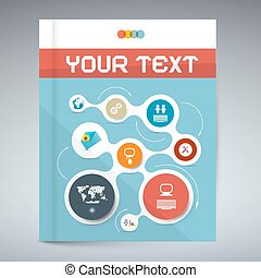 Vector Blue Modern Book or Brochure Cover Design - Infographics Template, Layout