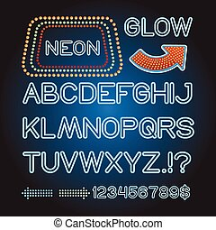 Vector blue neon lamp letters font show banner light sign theather