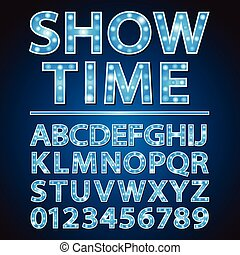 Vector blue neon lamp letters font show cinema or theather