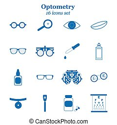 Vector blue optometry icon set. Optician, ophtalmology, ...