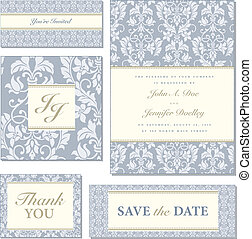 Vector Blue Ornate Frame Set - Set of ornate vector frames. ...