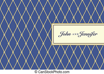 Vector Blue Ornate Plaid Pattern and Small Frame