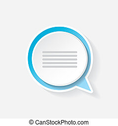 vector blue paper speech bubble on grey background