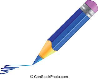 Vector blue pencil