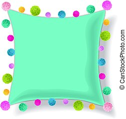 Vector Blue Pillow Decorated With Colorful Decorative Pompoms. Editable Template Design.