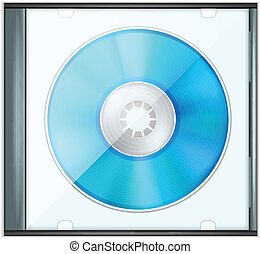 Vector Blue Realistic CD Disk in Bo