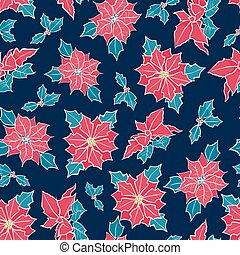 Vector blue, red poinsettia flower and holly berry holiday seamless pattern background. Great for winter themed packaging, giftwrap, gifts projects.