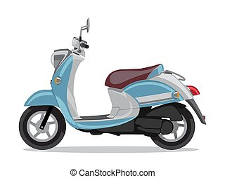 Vector blue retro scooter, flat style side view.
