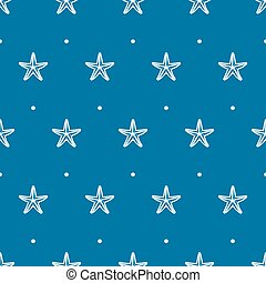 Vector blue seamless pattern with sea starfish