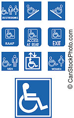Vector blue signs - invalid - on white