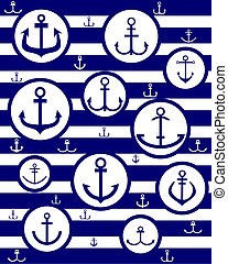 vector blue silhouettes of anchors in circles against the vest