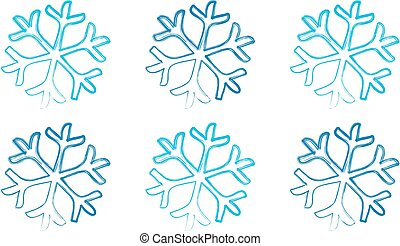 Blue Snowflakes on a white background
