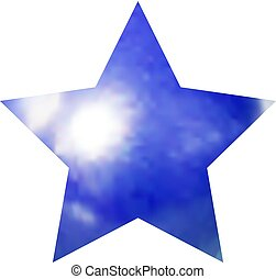 Vector Blue Star Isolated on White Background, Realistic Marble Texture.