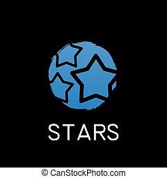 blue stars icon on black background