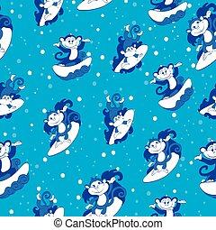 Vector Blue Surfing Monkeys Seamless Pattern. California Hawaii