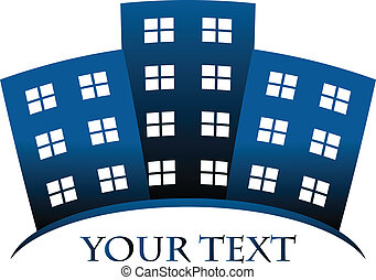 buildings and space for your text - Vector blue symbol of...
