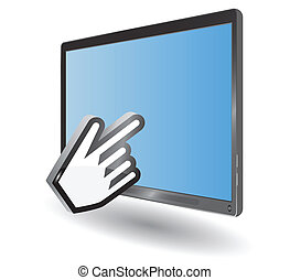 Vector blue tablet pc and hand cursor