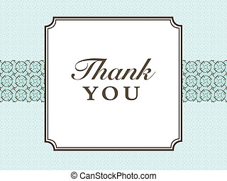 Vector Blue Thank You Frame and Pattern